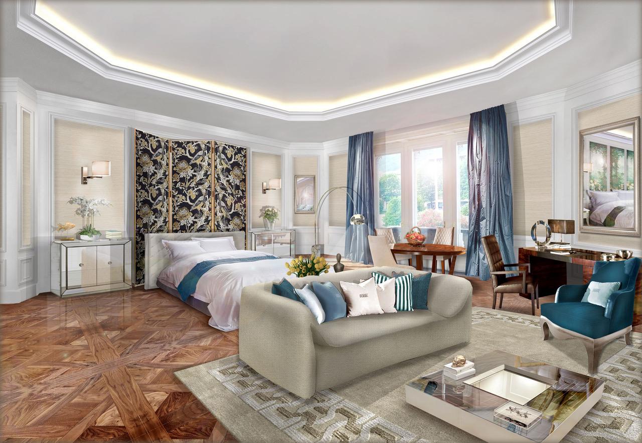 Un rendering di una delle lussuose suite del nuovo hotel Vista di Como