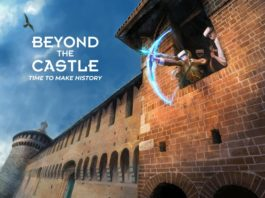 Uno scorcio del Castello Sforzesco di Milano con un arciere virtuale
