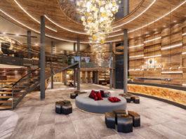 Un rendering della spaziosa hall dell'A&L Wellnessresort