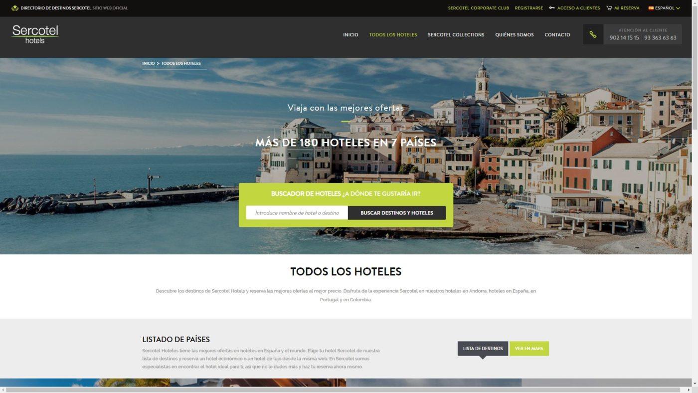 L'homepage del sito di Sercotel Hotels