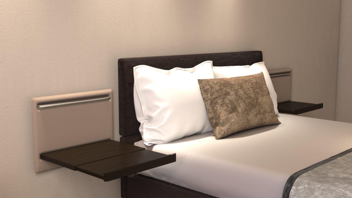 Un dettaglio del letto della Camera Fly Set
