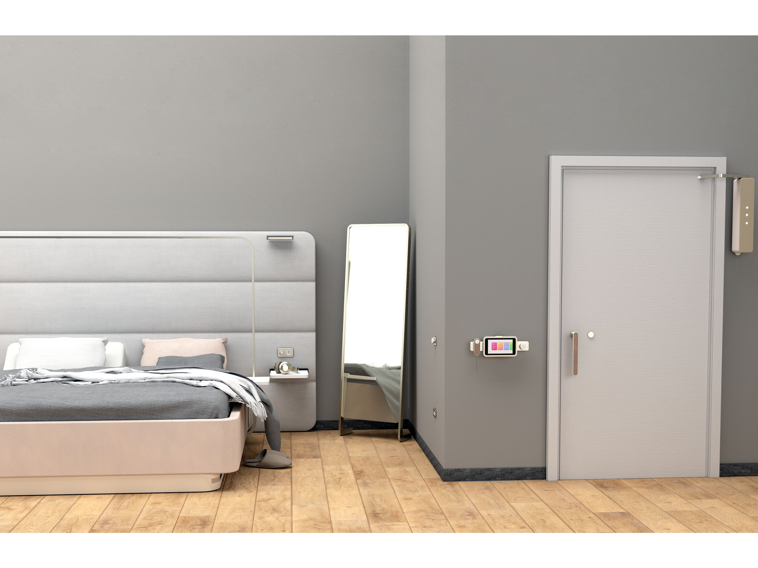 dettaglio della camera Twee con la testiera del letto, lo specchio e la porta d'ingresso