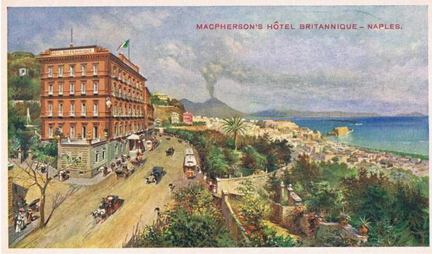L'Hotel Britannique di Napoli in un disegno su una cartolina d'epoca