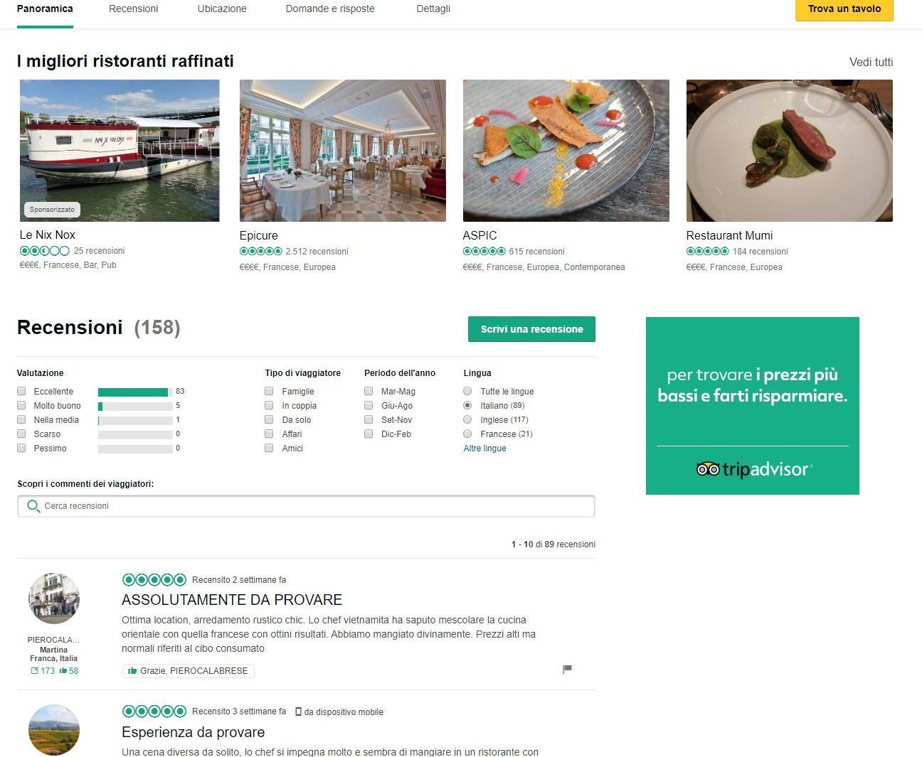 Uno screenshot di Tripadvisor con alcune recensioni