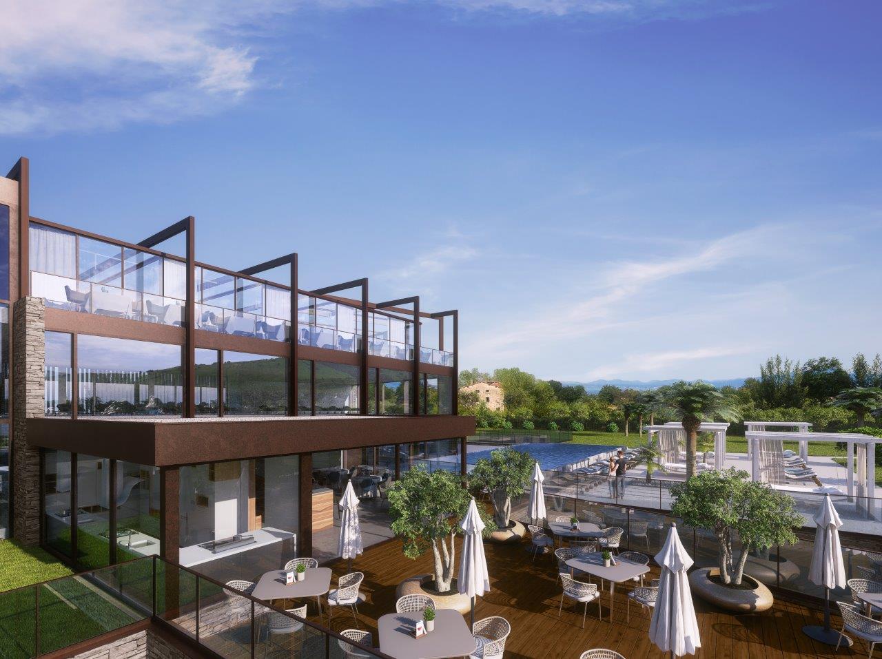 Un rendering del Quellenhof Luxury Resort Lazise (esterno con bar e piscina)