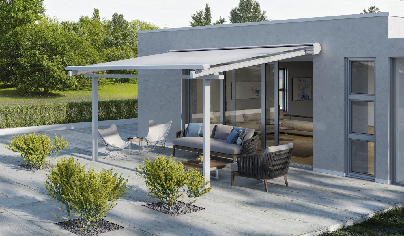 La tenda KE Space a copertura di una veranda