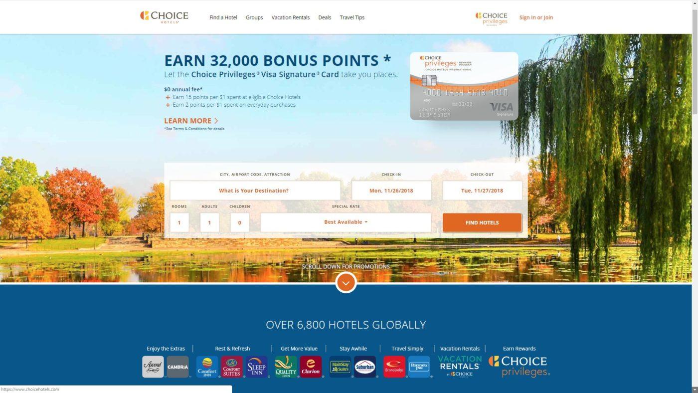 l'home page di Choice Hotels che ha attivato l'opzione Book on Google