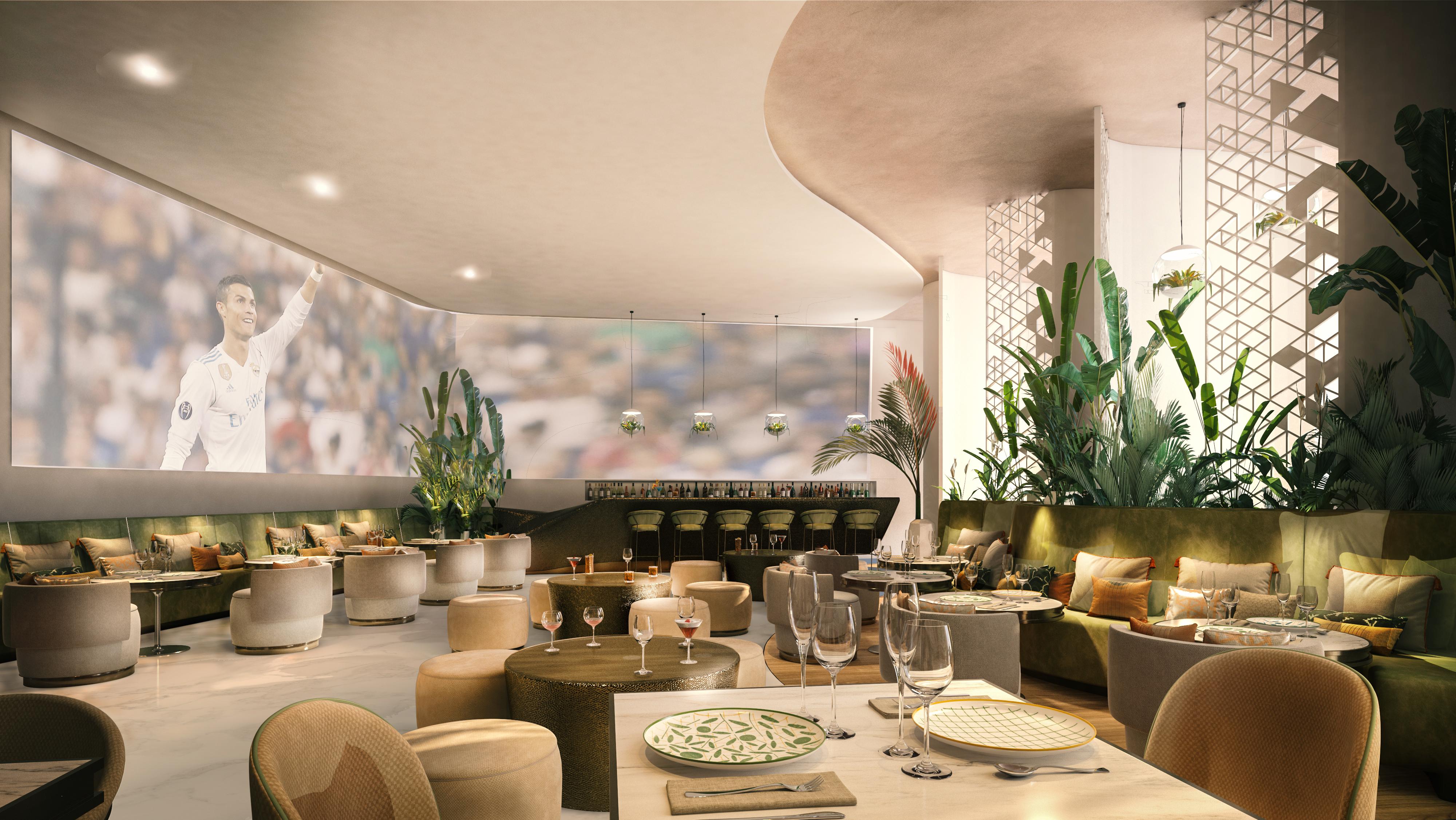 Un rendering del ristorante nel nuovo hotel di Cristiano Ronaldo