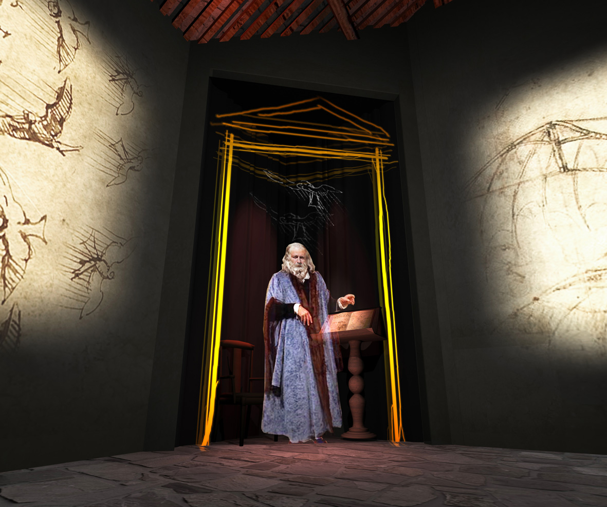 Ologramma di Leonardo da Vinci nella Casa Natale ad Anciano