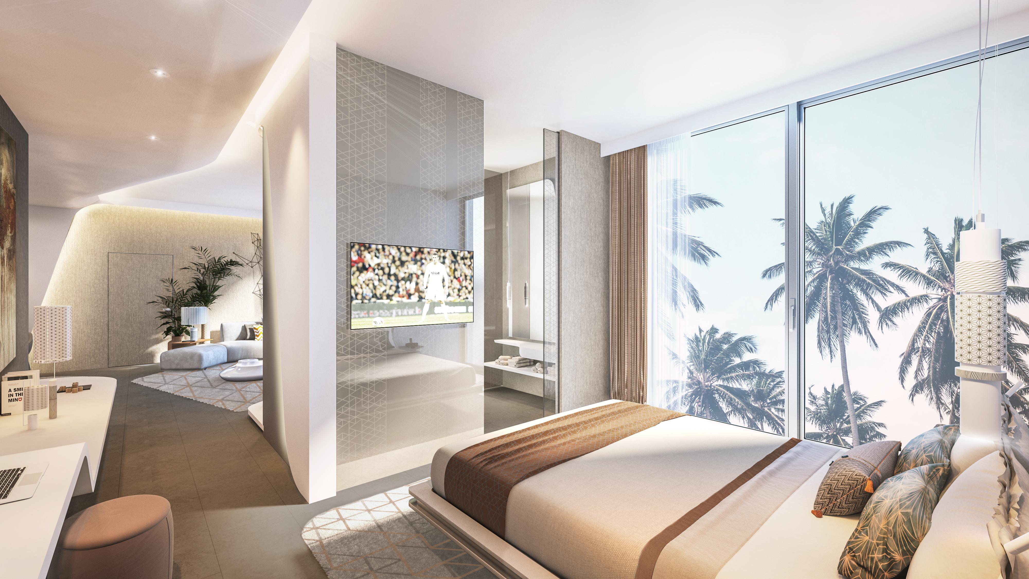 Un rendering di una camera del nuovo hotel di Cristiano Ronaldo