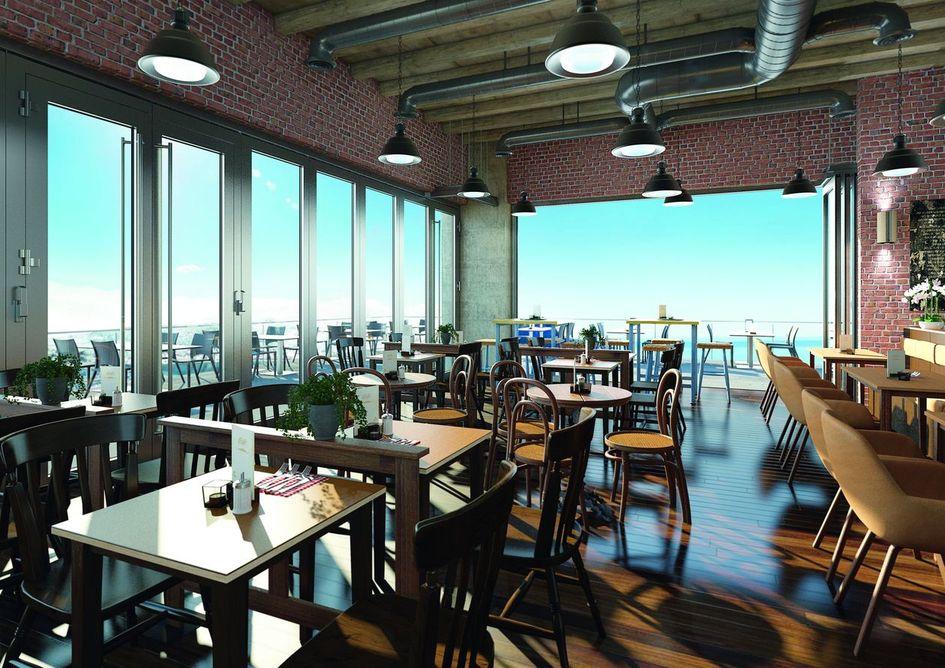 Un ristorante con le pareti pareti scorrevoli in vetro HSW Easy Safe