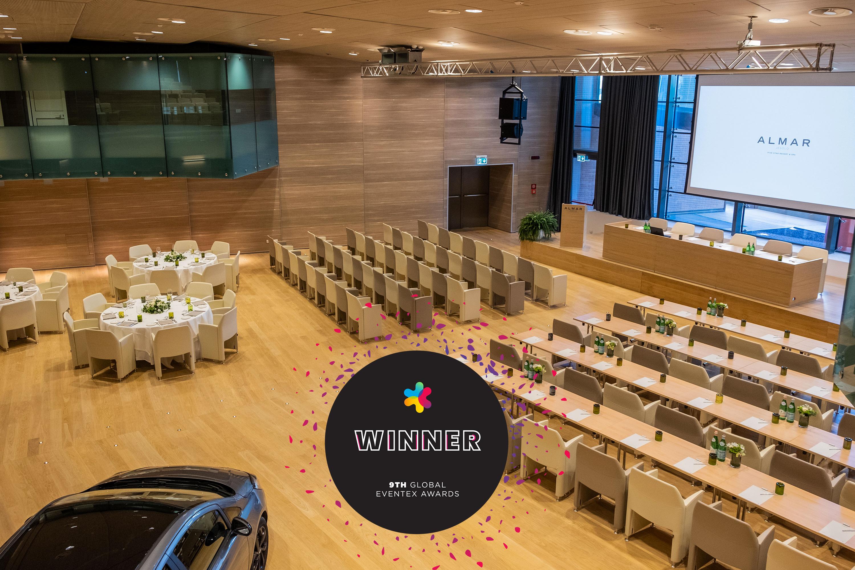 L'Auditorium dell'Almar Jesolo con il bollino che indica il premio agli Eventex 2019