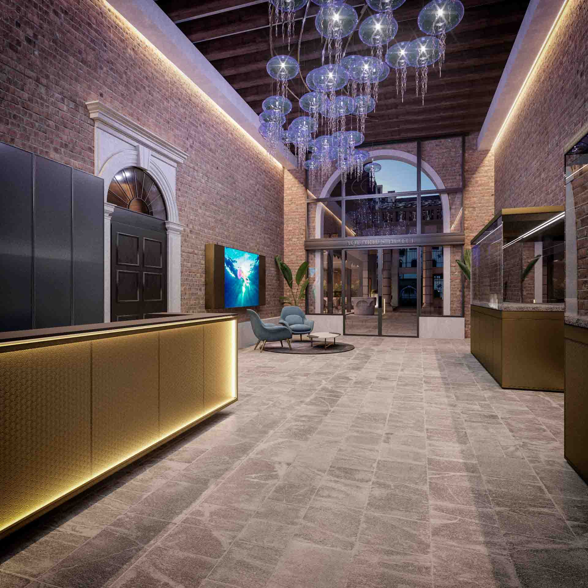 La hall dell'Hotel Aquarius Venice affiliato al brand Ascend Hotel Collection