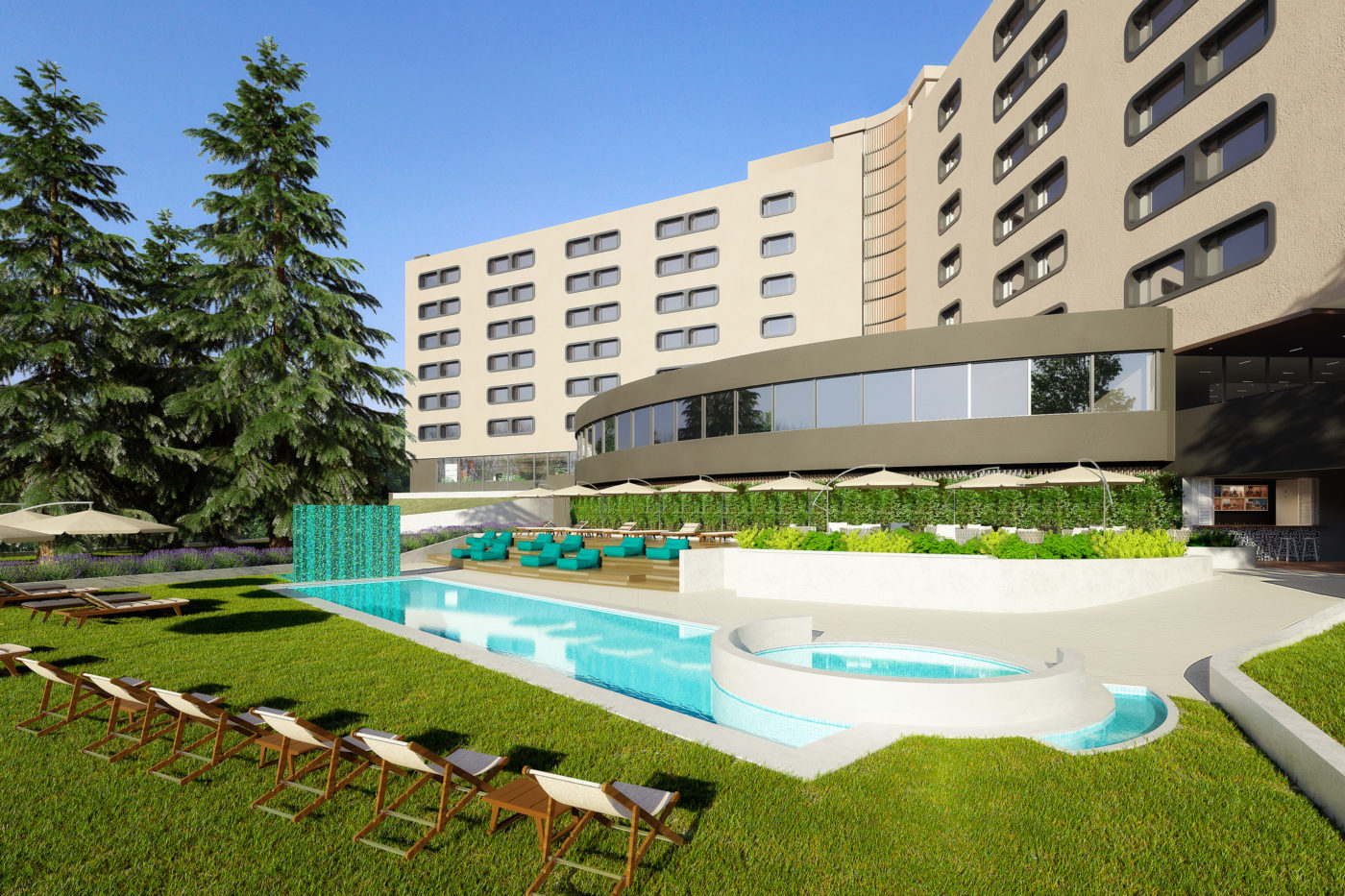 L'area piscina dello Sheraton Milan San Siro