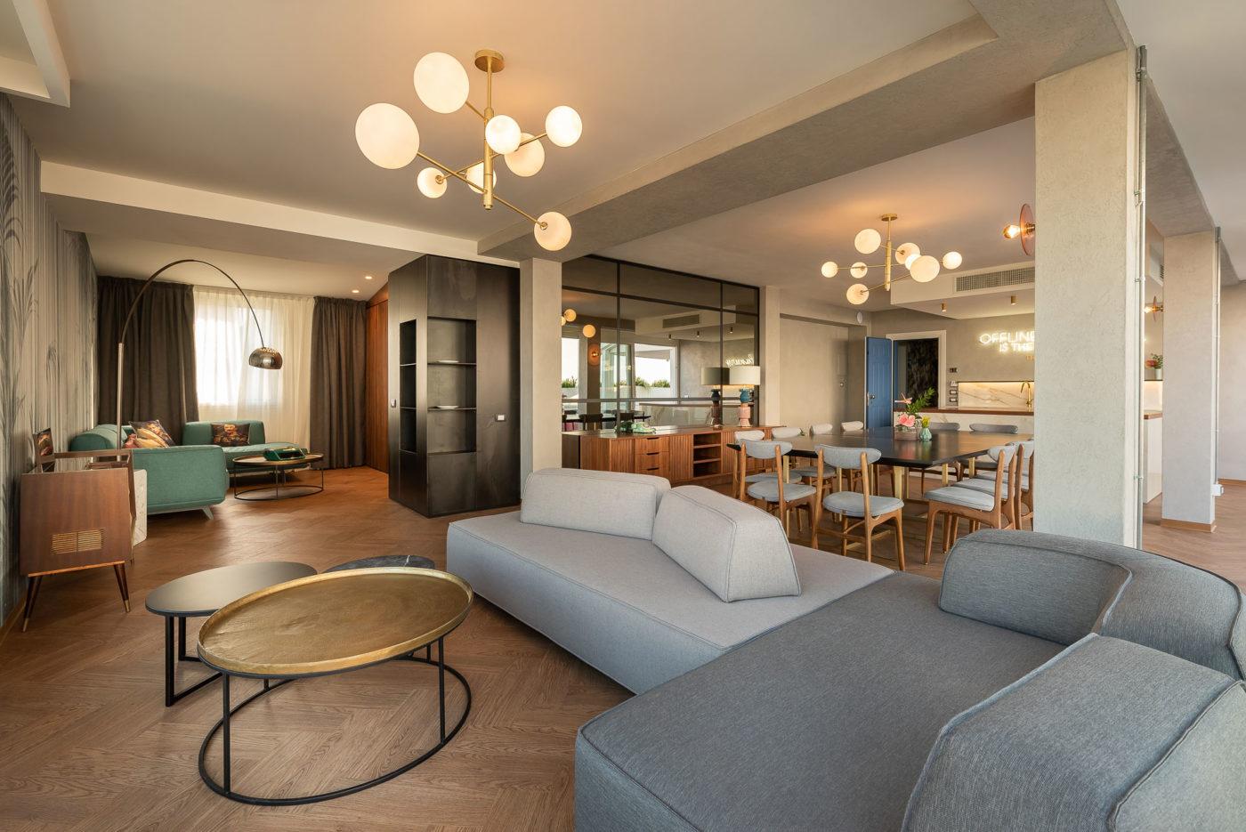 Appartamento meeting space del The Box Hotel di Riccione, l'aera living