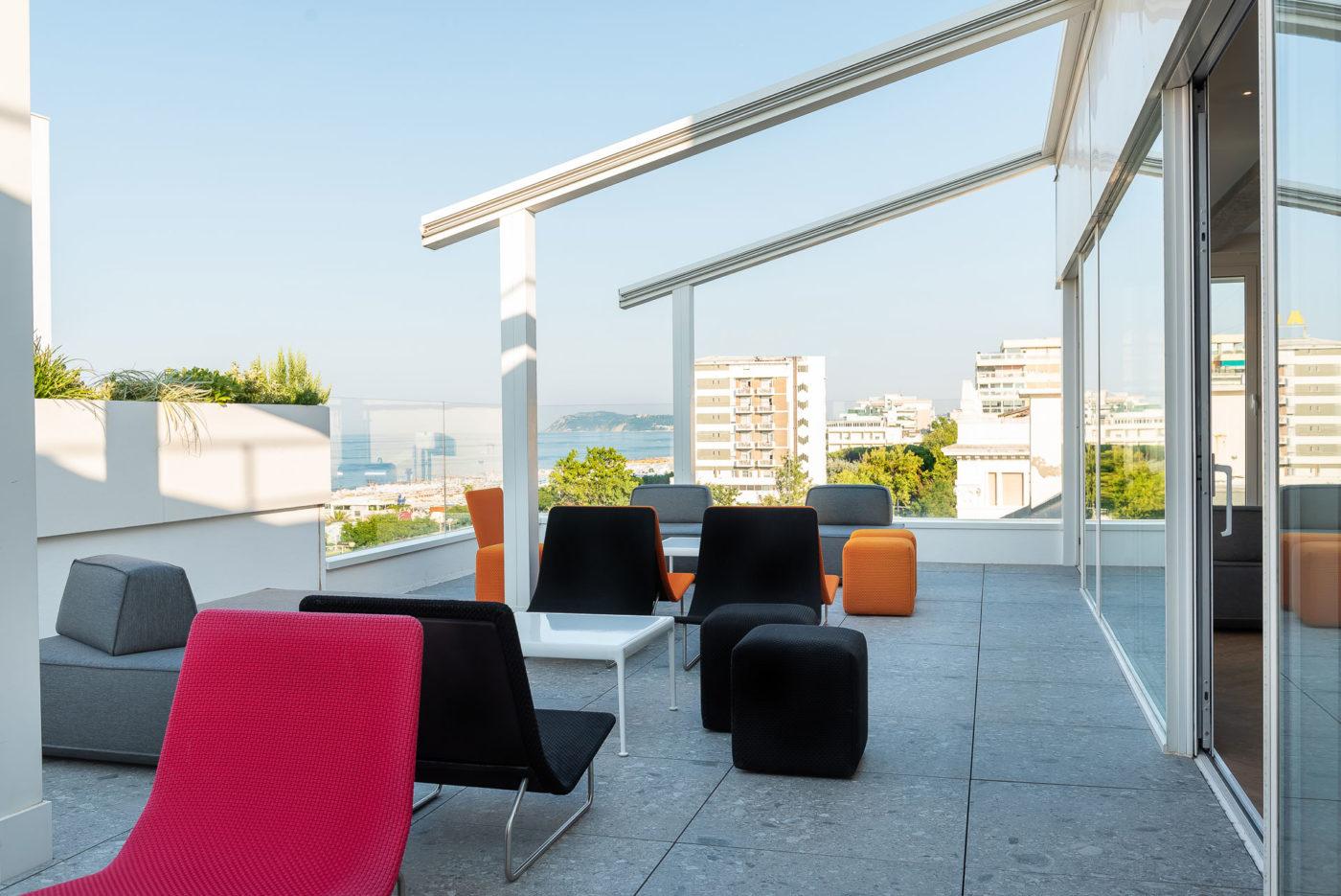 Appartamento meeting space del The Box Hotel di Riccione, la terrazza