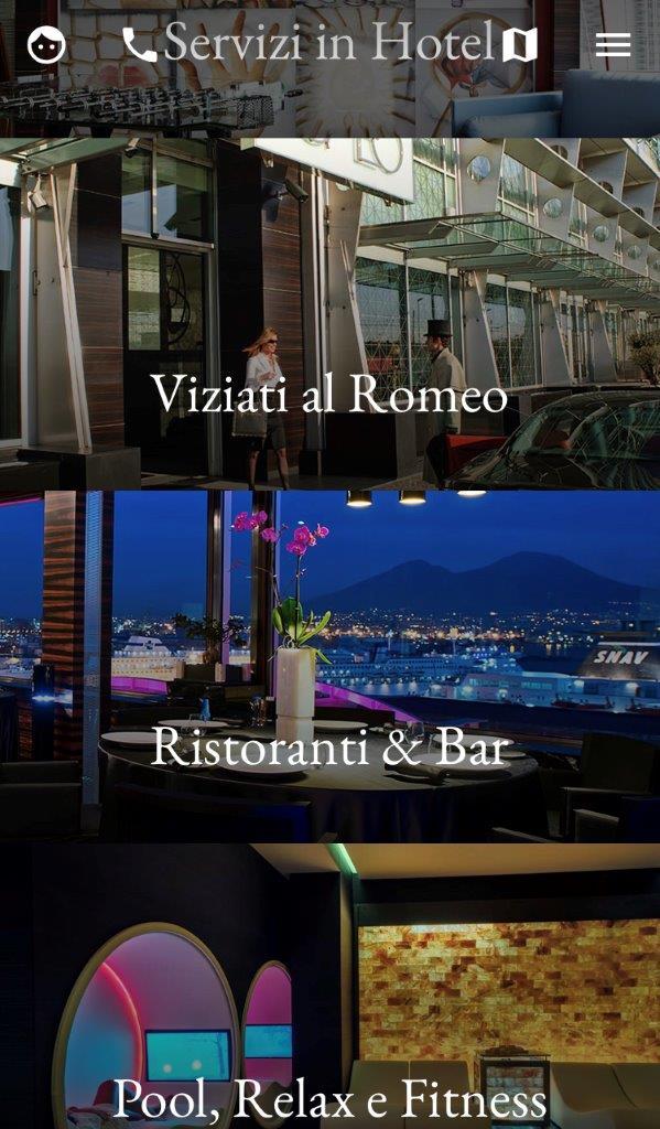 Una videata della app del Romeo di Napoli