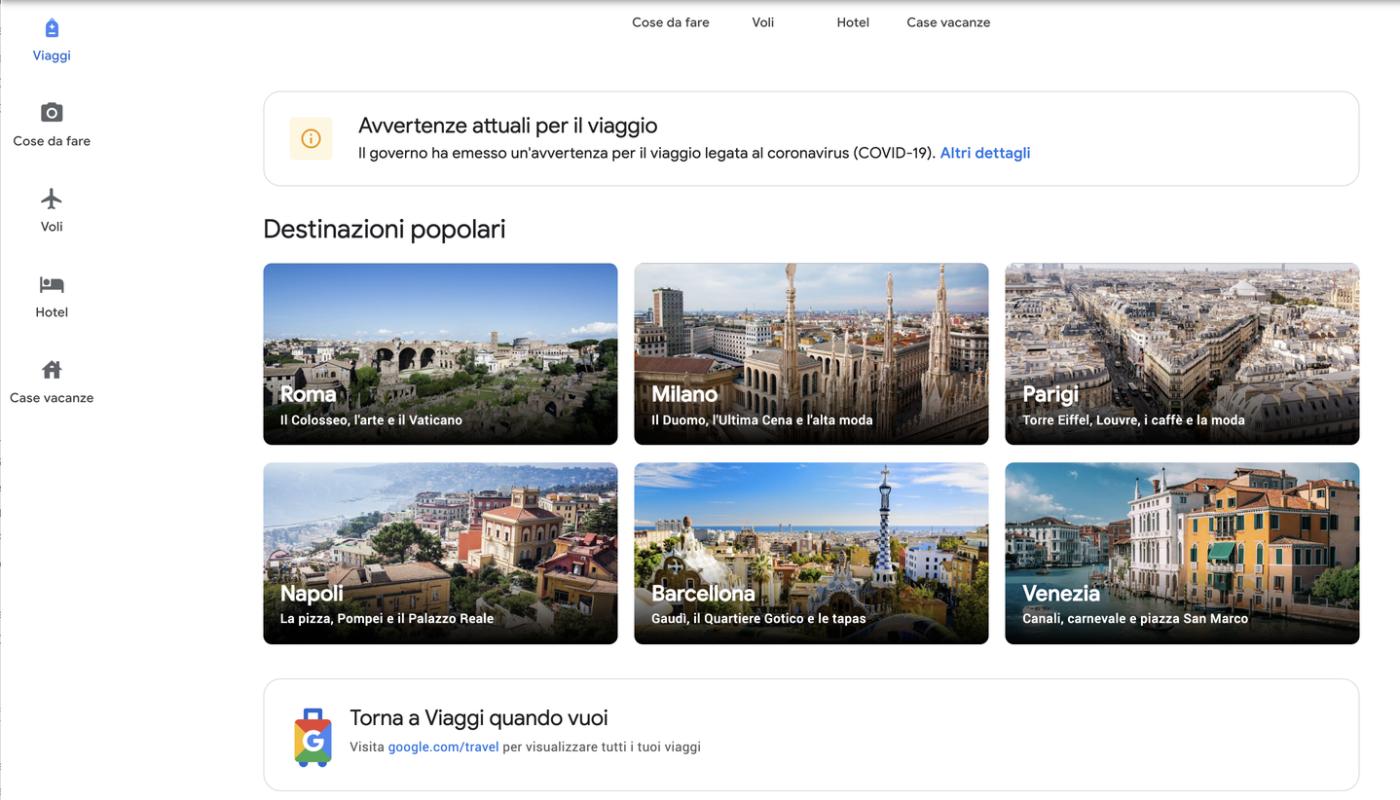 l'homepage di Google Traverl